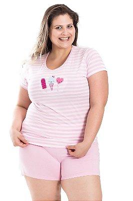 Pijama com Bordado Bela Notte Rosa Plus Size