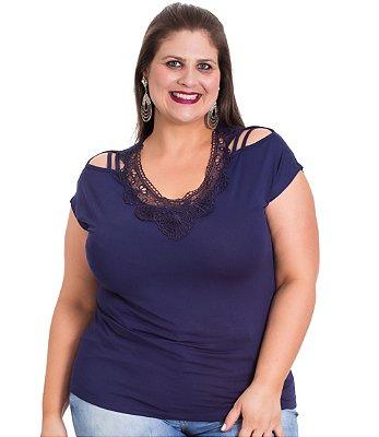 Blusa Viscolycra com Ombros Vazados Gracia Marinho Plus Size