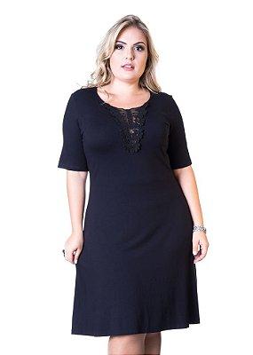 Vestido Viscolycra com Guipir no Decote Berthage Plus Size