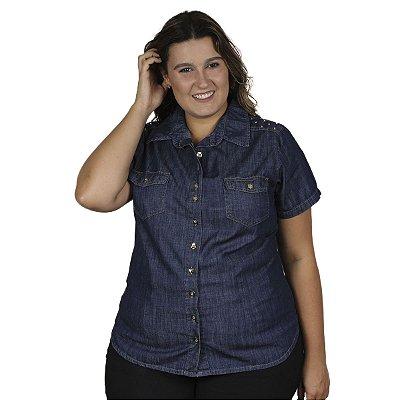 Camisete jeans Tradicional com botões Stuhler Plus Size
