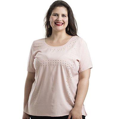 Blusa em tecido plano com Aplique Dourado Tamanhos Nobres Plus Size