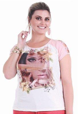 Blusa com Detalhe Frontal em Plush Gracia Plus Size