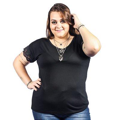 Blusa com Detalhe em Renda 100% Viscose Ody Malhas Plus Size