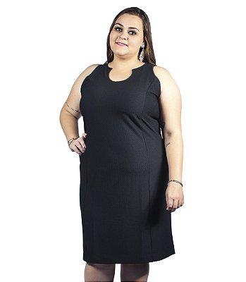Vestido Jacard Liso Primaior Plus Size