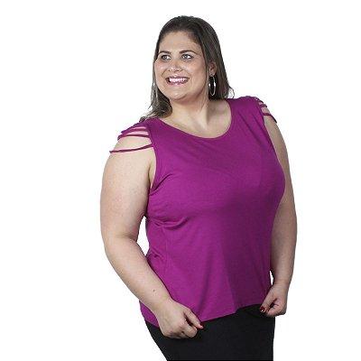 Blusa com Frisos Berthage Rosa Plus Size