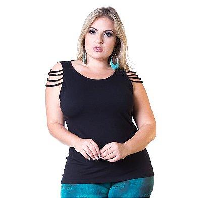 Blusa com Frisos Berthage Preta Plus Size