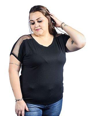 Blusa Viscolycra e Detalhe Ombro em Tela Nolita Preta Plus Size