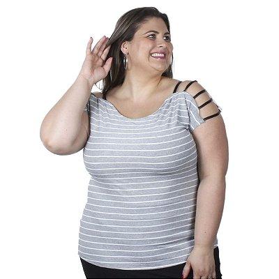 Blusa Viscolycra Listrada com frisos em Cirrê Nolita  Mescla Plus Size