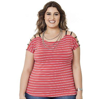 Blusa Viscolycra Listrada com frisos em Cirrê Nolita  Vermelha Plus Size