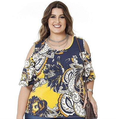 Blusa ombro Vazado Estampada Nolita Amarela e Azul Plus Size