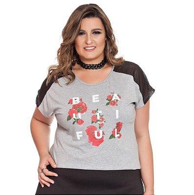 Blusa com Estampa Frontal e detalhe em tela no Ombro e nas Costas Nolita Plus Size
