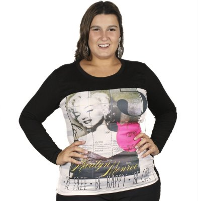 Blusa Visco com Decote em Tela Gracia Plus Size