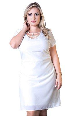 Vestido em Crepe Stretch com Frisos em Strass  Branco Lepoque Plus Size