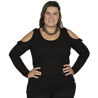 Blusa Viscolycra com Abertura no Ombro Preto Plus Size Nolita
