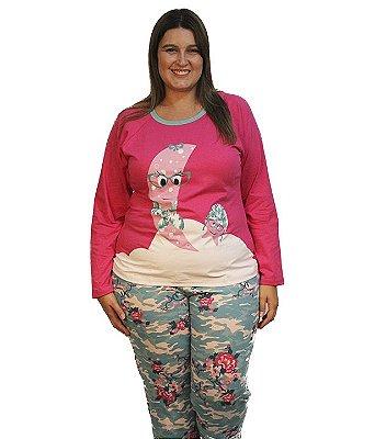 Pijama longo Bela Notte estampado família Plus Size