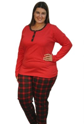 Pijama Bela Note Xadrez família Plus Size