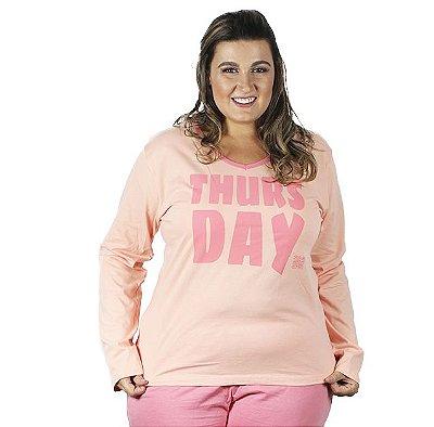 Pijama longo Bela Notte estampado dias da semana família Plus Size