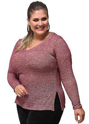 Blusa Básica Tricot Decote V Primaior Plus Size