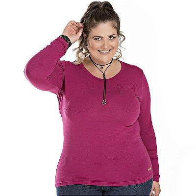 Blusa Viscose Básica com Detalhe de Bolso Pink Wind Life Plus Size