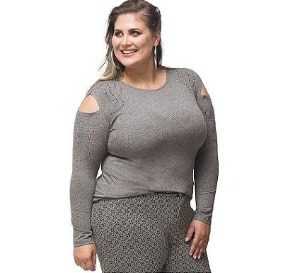 Blusa Básica Viscolycra com Detalhe no Ombro Mescla Primaior Plus Size