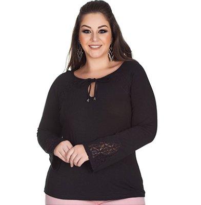 Blusa Viscolycra com Recorte em Renda Preta Kibeleza Plus Size