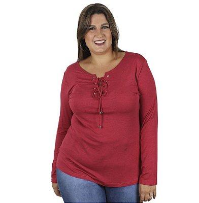 Blusa Melange Com Ilhós e Amarração Vermelha Kibeleza Plus Size