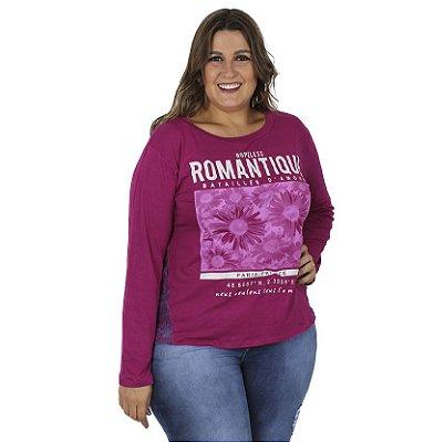 Blusa Estampada  Pink Vitalite Plus Size