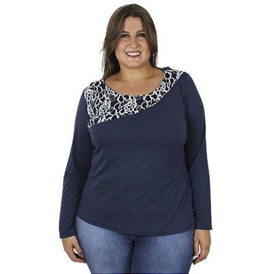 Blusa Viscolycra com Recorte em Renda Grossa Kibeleza Plus Size