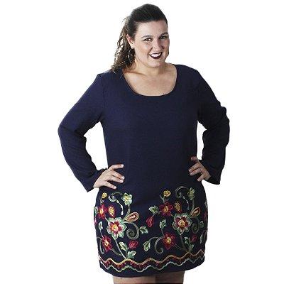 Vestido Linho Bordado Azul Marinho Quince Plus Size