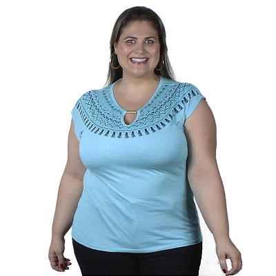 Blusa Viscolinho azul Cereja Rosa Plus Size