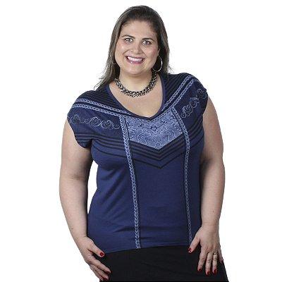 Blusa Viscose Marinho Cereja Rosa Plus Size
