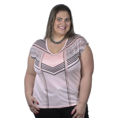 Blusa Viscose Rose Cereja Rosa Plus Size