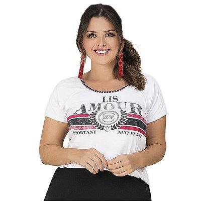 Blusa com Estampa Frontal Lisamour Plus Size