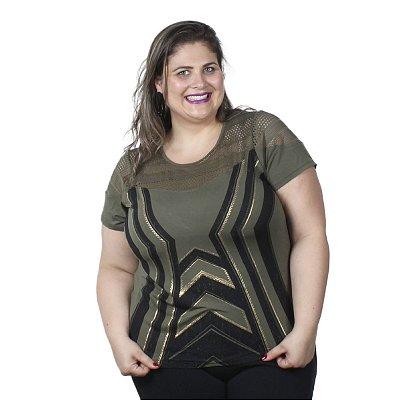 Blusa com Estampa Frontal e Renda Lisamour Plus Size
