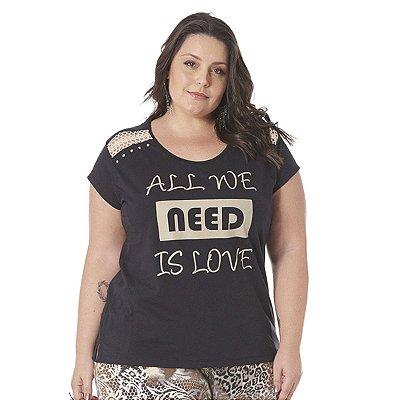 Blusa com Detalhe no ombro  Claubitex Plus Size