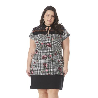Vestido Gola com Amarração Passamanaria Claubitex Plus Size