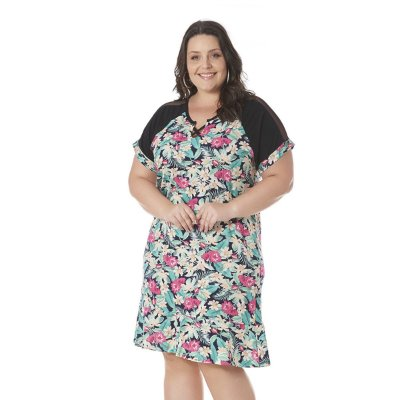 Vestido Estampado com Detalhe em Tule Claubitex Plus Size