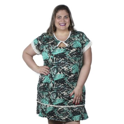 Vestido Estampado Folhas com Tassel Claubitex Plus Size