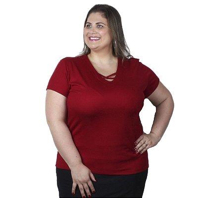 Blusa Canelada Decote V Cruzado vermelha Claubitex Plus Size