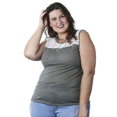 Blusa Polilinho com Detalhe em Renda Ody Plus Size