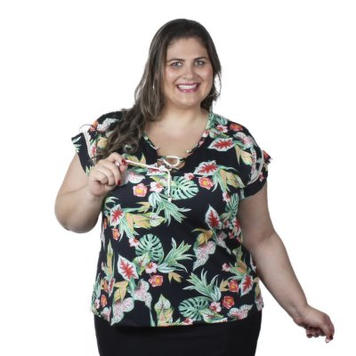 Blusa Estampada com Entremeio Floral Claubitex Plus Size