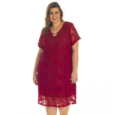 Vestido Bordô com Renda Assiral Plus Size