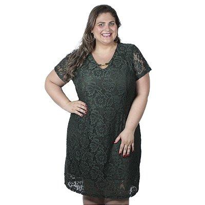 Vestido Verde Militar com Renda Assiral Plus Size
