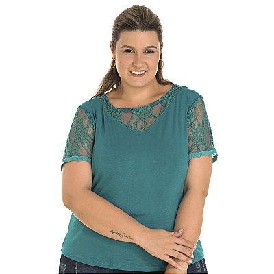 Blusa com Renda Lisamour Plus Size