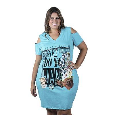 Vestido com Estampa Frontal e abertura nos ombros Rosa Urbana Plus Size