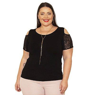 Blusa Viscolycra com ombros Vazados e Renda Berthage Plus Size