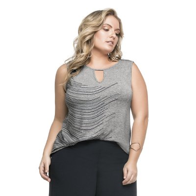 Regata Viscose Light sem Manga Cereja Rosa Plus Size