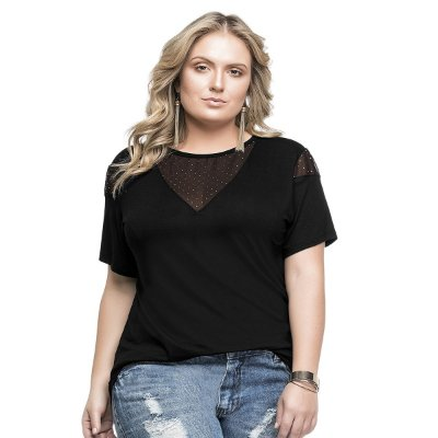 Blusa Viscose Light com Tule Cereja Rosa Plus Size