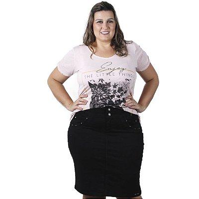 Saia Jeans Preta com Detalhe THB Plus size