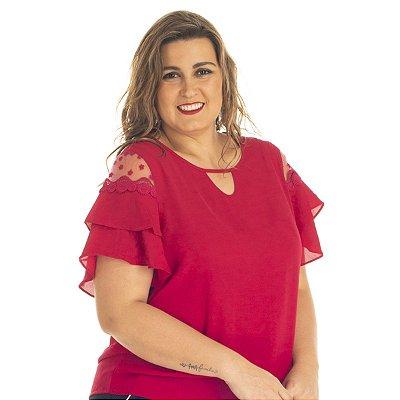 Blusa Tecido com Renda Rovitex Secrets Plus Size